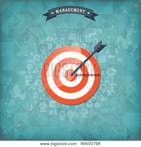 Flat target with web application icons. Management concept background. Teamwork and business aims. O
