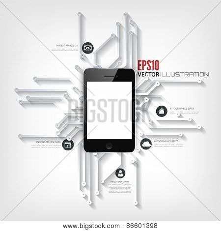Abstract integrated circuit. Business background.Realistic detalized flat smartphone poster