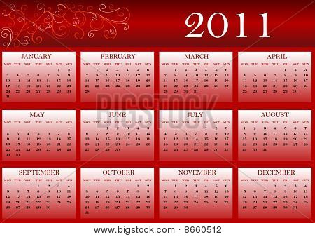 Colorful calendar for 2011, starts from Monday