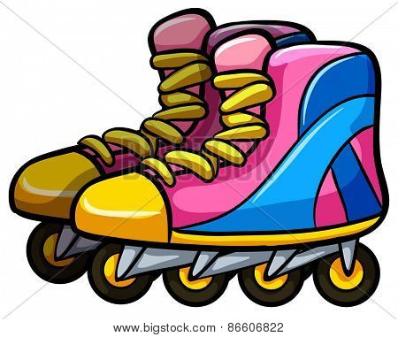 Pair of rollerskates with four wheels