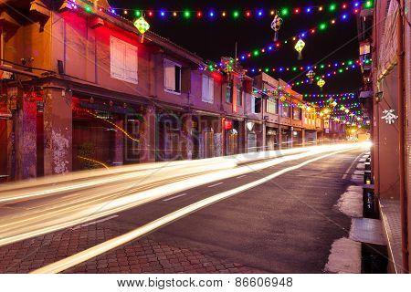Holiday illumination on the street of Malacca