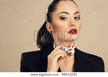 Beautiful Businesslike Woman In Elegant Black Jacket