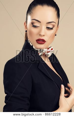Beautiful Businesslike Woman In Elegant Black Jacket