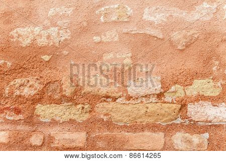 Texture Of Ancient Brick Wall In Close Up.