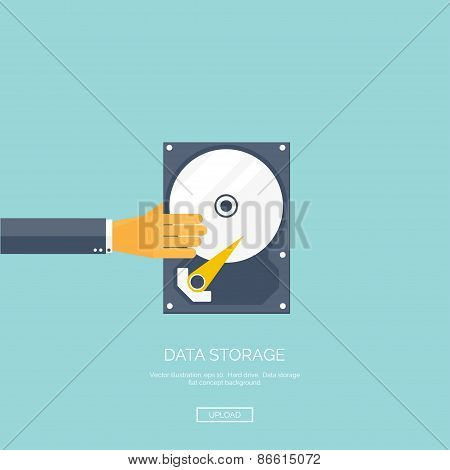 Vector illustration. Flat background with hand and hard drive. Information transfer. Web storage con