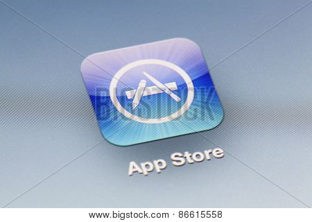 Close-up view of the App Store icon on an iPad