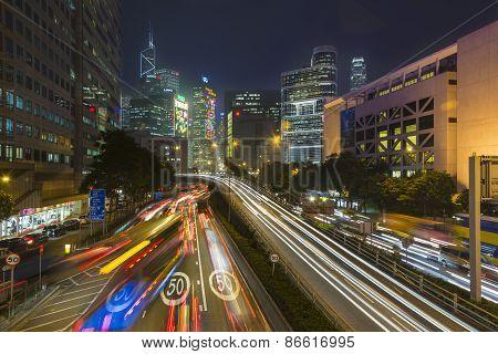 Hong Kong, China - December 12, 2013: Car Light Trails Scene At Night in Wan Chai Disct