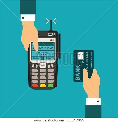 Pos Terminal Usage Vector Concept In Flat Style