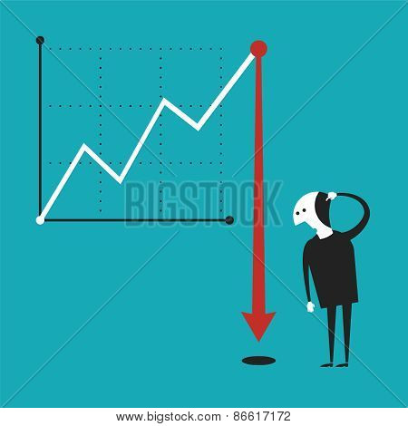 Business Activity Decline Vector Concept In Flat Cartoon Style
