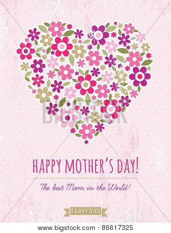 Mothers Day Card With  Heart Of Spring Flowers On Pink Background,  Vector