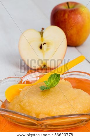 Applesauce With Cinnamon And Orange Spoon
