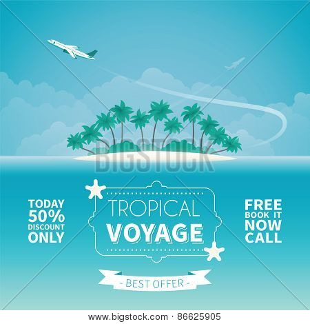 Airplane Travel Or Tropical Voyage Vector Concept In Flat Style