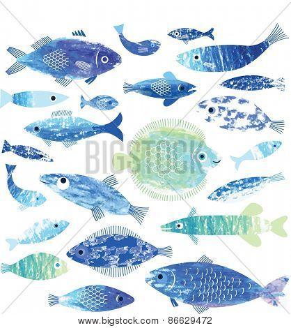 set of fish art