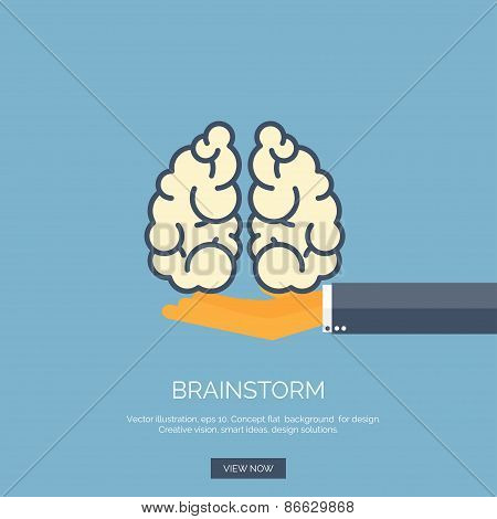Vector illustration. Flat background with hand and brains. Brainstorm, teamwork. Creative vision.