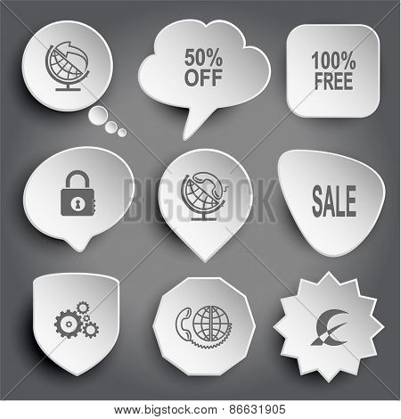 globe and arrow, 50% OFF, 100% free, closed lock, globe and handset, sale, gears, global communication, monetary sign. White raster buttons on gray.
