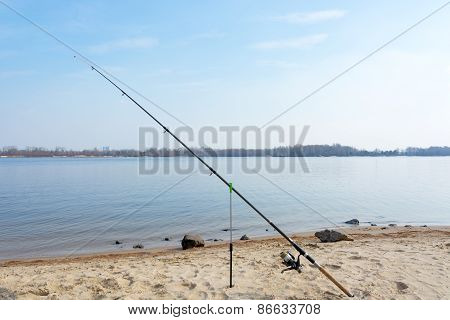 Fishing On The River Beach.