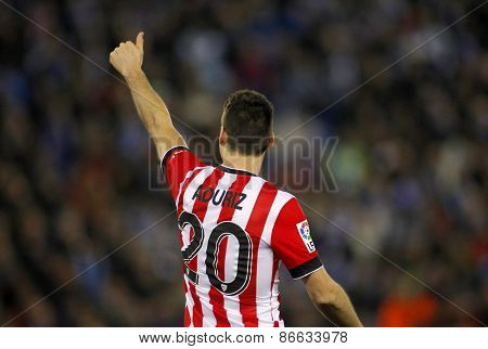 BARCELONA - MARCH, 4: Aritz Aduriz of Athletic de Bilbao celebrates goal during a Spanish League match against RCD Espanyol at the Estadi Cornella on March 4, 2015 in Barcelona, Spain