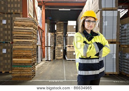 Logistics employee in a large distribution warehouse poster