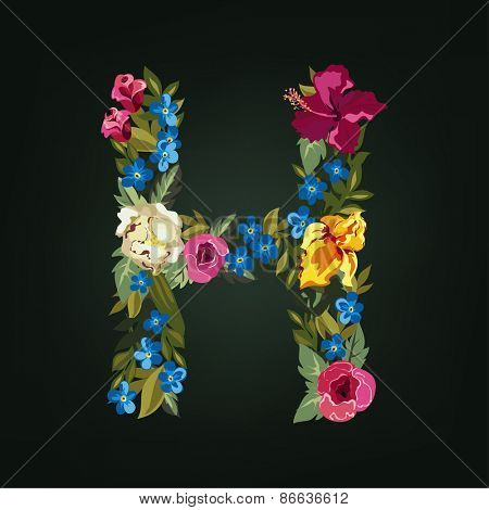 H letter. Flower capital alphabet. Colorful font. Uppercase.  Vector illustration.