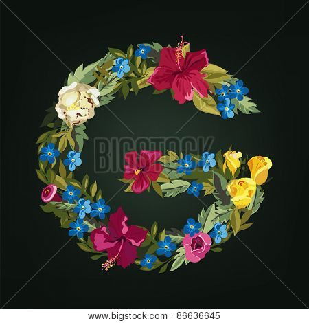 G letter. Flower capital alphabet. Colorful font. Uppercase.  Vector illustration.