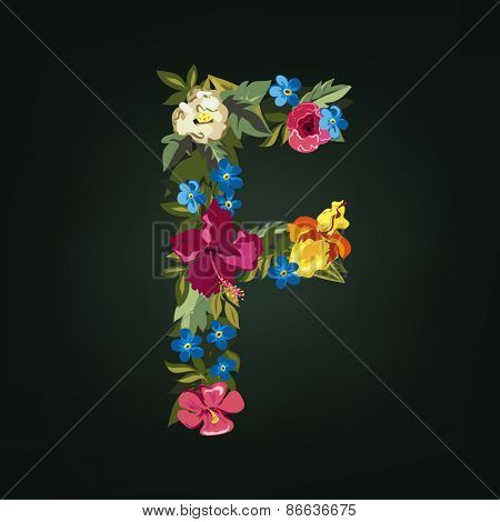 F letter. Flower capital alphabet. Colorful font. Uppercase.  Vector illustration.