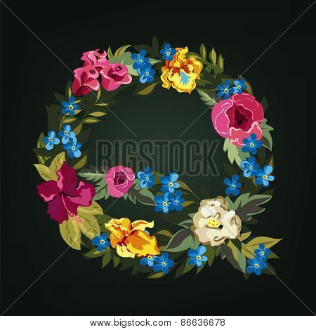 Q letter. Flower capital alphabet. Colorful font. Uppercase.  Vector illustration.