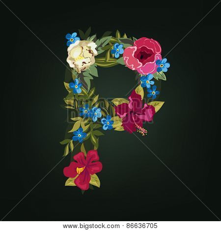 P letter. Flower capital alphabet. Colorful font. Uppercase.  Vector illustration.