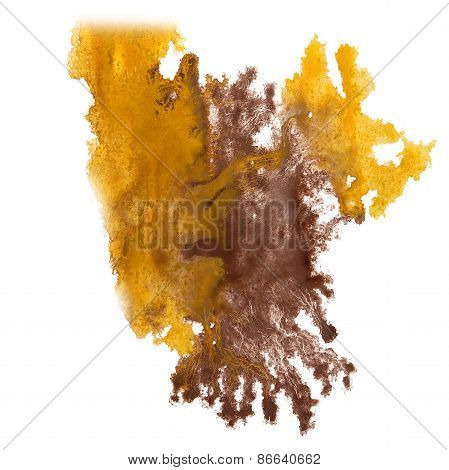 abstract brown, yellow hand drawn watercolor blot insult Rorscha