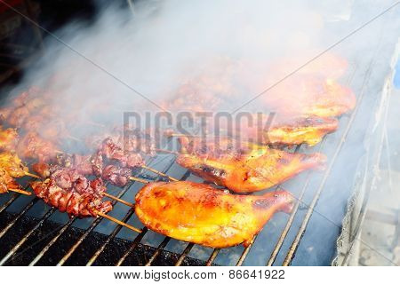Grilled Barbecue Chicken With Full Of Smoke