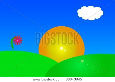 Vector Drawing Of A Sunrise Over A Hillside