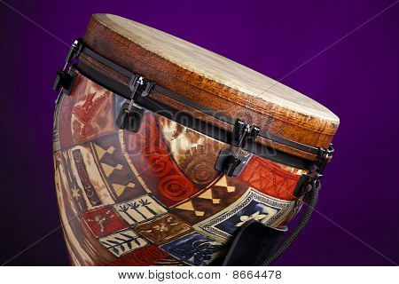 African Latin Djembe Drum On Purple