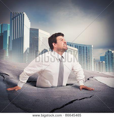 Businessman sinks into despair