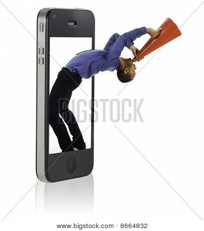 Man Yelling In Megaphone