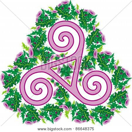Celtic Triad Framed By A Wreath Of Thistles.eps