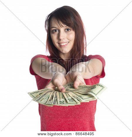 Smiling Woman Offering a Fan of 20 US Dollar Bills