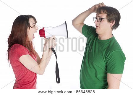 Woman Shouting to her Man with Megaphone