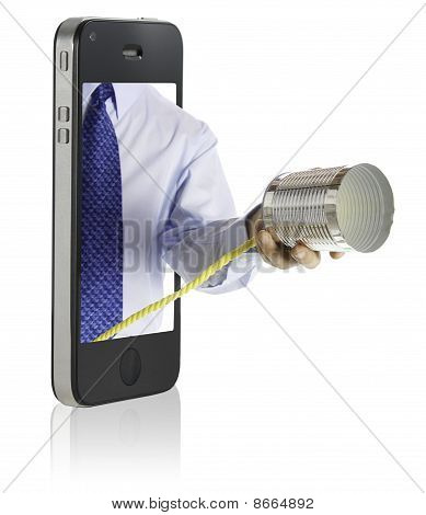 Hand and Tin Can Phone