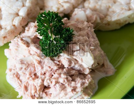 Diabetic Person Snack, Tuna Salad And Rice Cakes