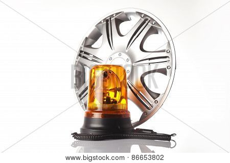alloy wheel and road emergency light isolated poster
