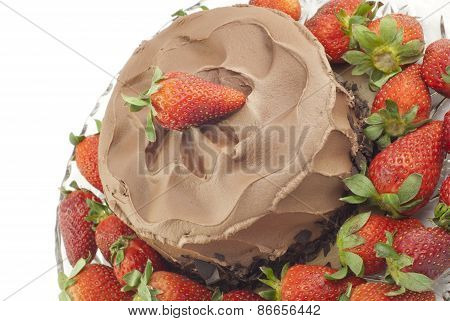Chocolate Cake With Strawberries On White