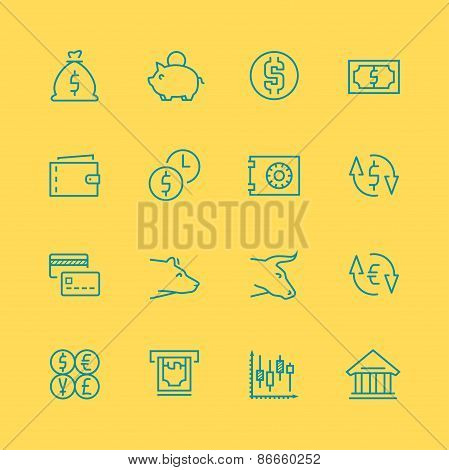 Vector Business, Finance And Stock Exchange Icons