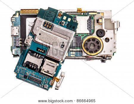 Broken Mobile Phone Closeup