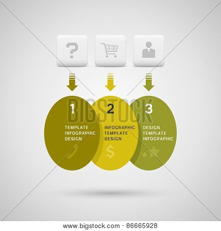 Infographics design with green yellow ellipse elements on gray background