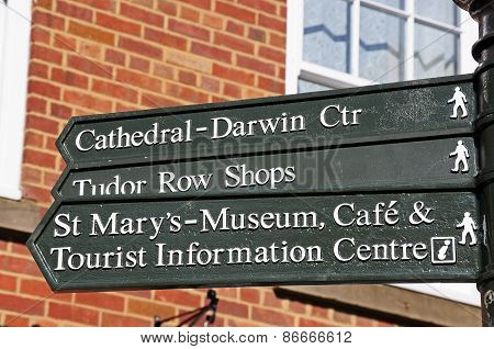 Lichfield attractions signpost.