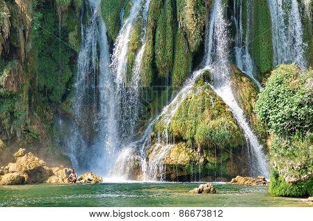 Green colours of Kravice waterfalls in Bosnia Herzegovina poster