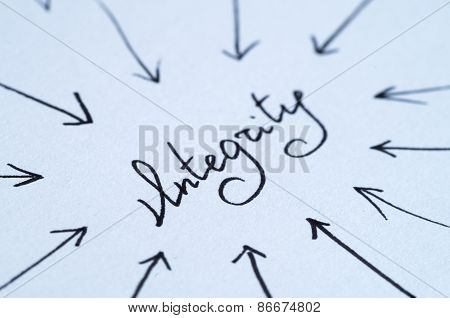 Integrity - Hand Written Word With Arrows On White Paper
