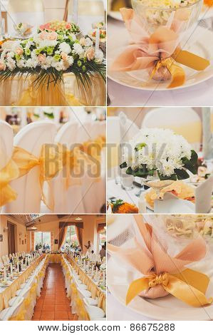 Collage collection of gold wedding details from ceremony and reception