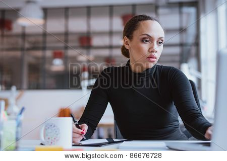 Young Woman Working New Business Assignment