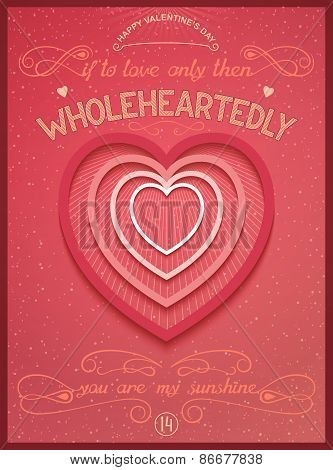 Wholeheartedly. lettering poster with art heart