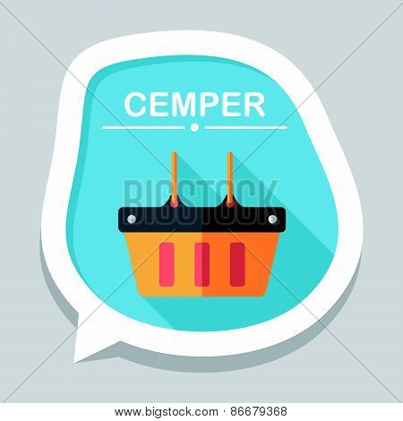 Shopping Basket Flat Icon With Long Shadow,eps10